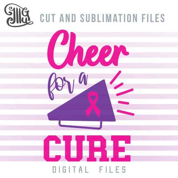 Cheer for a Cure SVG, Cheerleading Clipart, Breast Cancer PNG, Cheer Bow Sublimation Downloads, Cheer Mom Shirts SVG, Cheer Megaphone Clipart, Cheer Clipart Black and White,-by Illustrator Guru