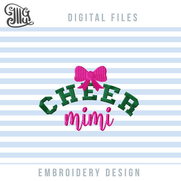 Cheer Mimi Embroidery Designs, Cheerleader Mimi Embroidery Patterns, Cheerleading Embroidery Files, Cheer Sayings Embroidery, School Sports Embroidery, Cheerleading Competition Quotes-by Illustrator Guru