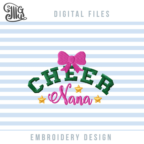 Cheer Nana Pes Files, Cheer Grandma Embroidery Designs, Cheerleading Embroidery Patterns, Cheer Sayings Embroidery, Cheerleader Embroidery, Nana Cheer Shirt, Cheer Cap, School Sports Embroidery-by Illustrator Guru