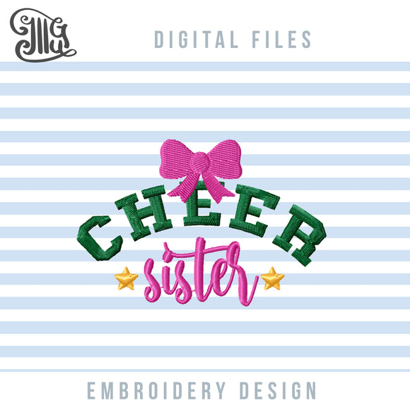 Cheer Sister Embroidery Files, Cheer Bow Embroidery Patterns, Football Season Pes Files, Football Sister Embroidery Stitches, Sister Shirt Embroidery, Sister Cap, Cheer Mask, Cheer embroidery-by Illustrator Guru
