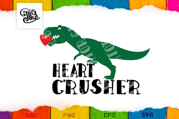 Boy Valentine svg with trex dinosaur saying Heart Crusher-by Illustrator Guru