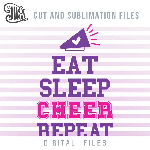 Eat Sleep Cheer Repeat SVG, Cheer Clipart, Cheer Megaphone PNG,Cheer Sayings for Shirts, Cheer Bow Sublimation Graphics, Cheer Silhouette PNG, Cheer SVG Images,-by Illustrator Guru