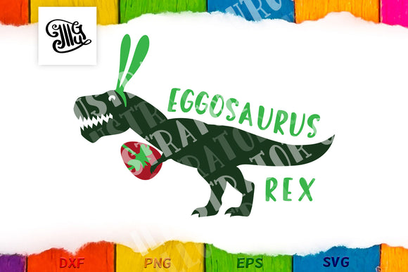 Easter dinosaur svg | Eggosaurus Rex svg | kids Easter svg-by Illustrator Guru