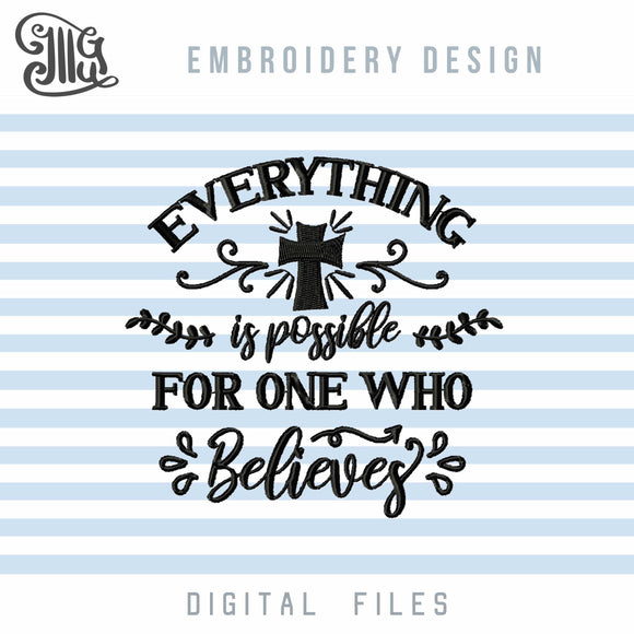 Believe Embroidery Designs, Religious Embroidery Patterns, Christian Embroidery Files, Crosses Embroidery Stitches, Bible Verses Embroidery, Religious Sayings Embroidery, Quotes Embroidery,-by Illustrator Guru