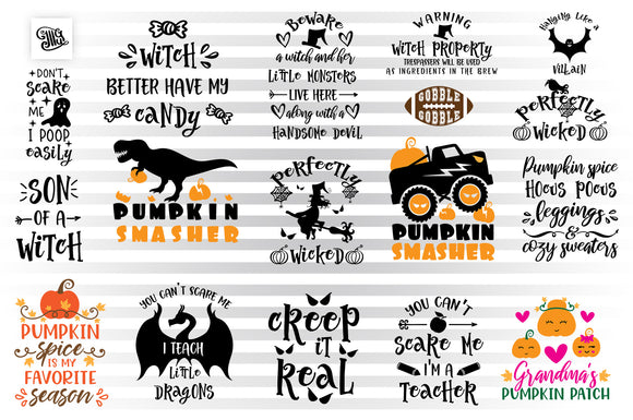 Fall SVG Bundle, Funny Halloween Clipart Bundle, Pumpkin SVG Cut Files, Truck With Pumpkins SVG, Pumpkin Smasher Dinosaur Sublimation Images, Bat SVG, Dragon SVG, Ghost SVG, Witch SVG-by Illustrator Guru