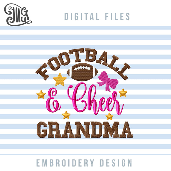 Football and Cheer Grandma Embroidery Patterns, Cheer Grandma Embroidery Designs, Football Grandma Pes Files, Grandma Shirts Embroidery, Grandma Cheer Cap Embroidery, Grandma Face Mask Embroidery for School Sports Season, Cheer Embroidery-by Illustrator Guru