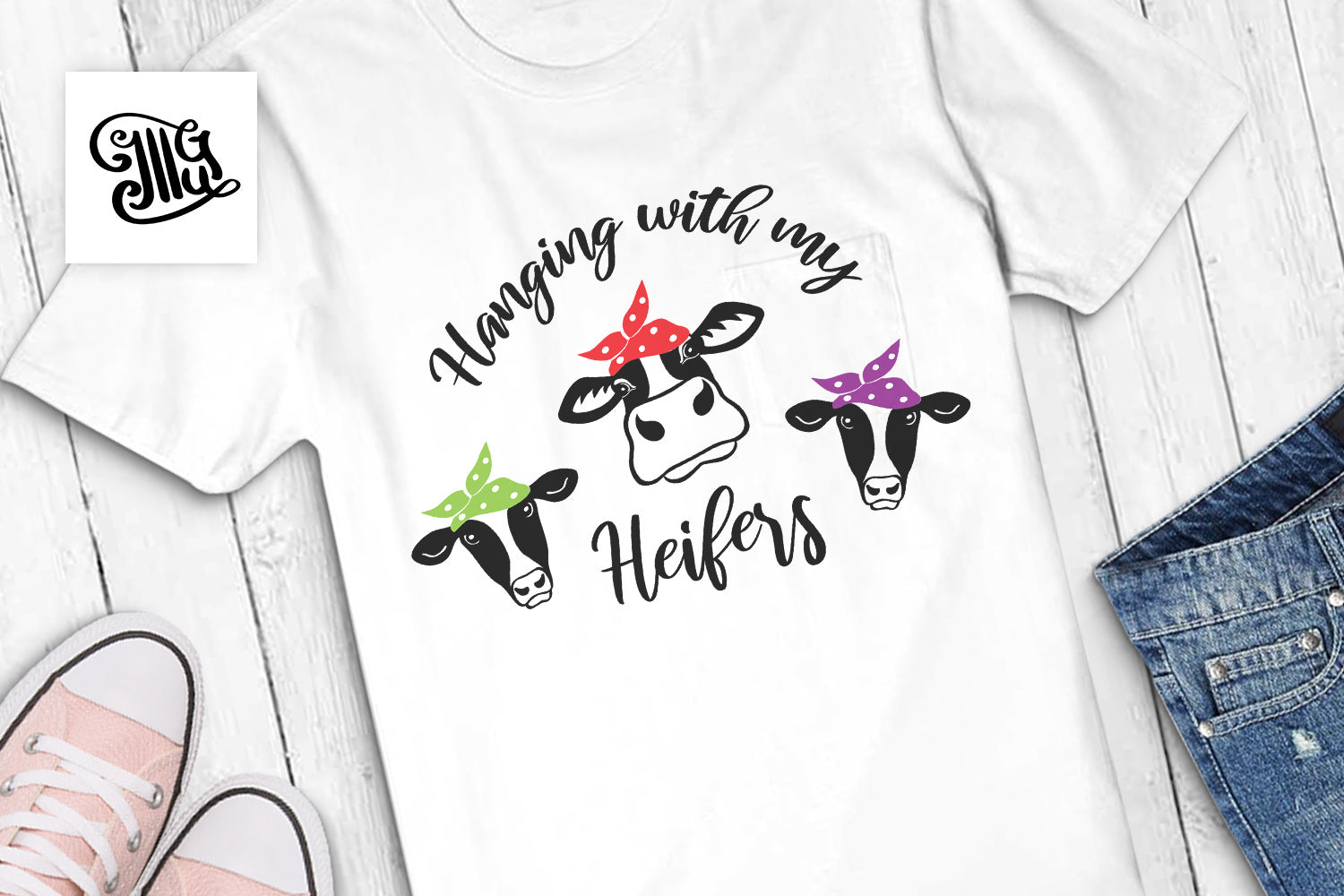 Hanging with my heifers SVG | cow with bandana svg | farm house svg | Cowgirl svg-by Illustrator Guru
