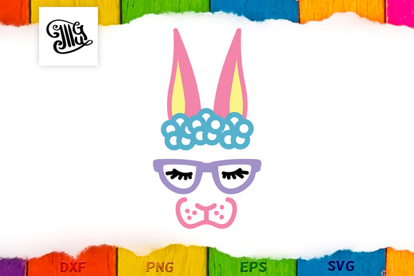 Hipster Easter bunny svg | girl Easter svg | Bunny face svg-by Illustrator Guru