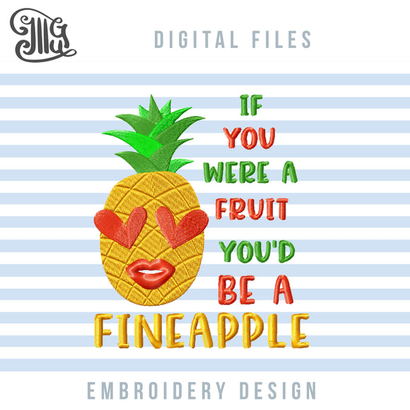Pineapple Applique, Golden Pineapple Embroidery Designs, Tropical Embroidery Patterns, Pineapple With Sunglasses Pes Files, Summer Embroidery Stitches, Tropical Embroidery Files, Fineapple Embroidery, Pineapple Sayings Embroidery-by Illustrator Guru