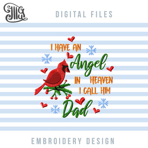 Dad Memory Pillow Embroidery Designs, Cardinal Embroidery, Christmas Ornaments Machine Embroidery Patterns, Sympathy Dad Loss Embroidery Files, Grief Sayings Pes Files, Memorial Shirt Embroidery, Dst, Jef, vp3, Hus, Christmas embroidery-by Illustrator Guru