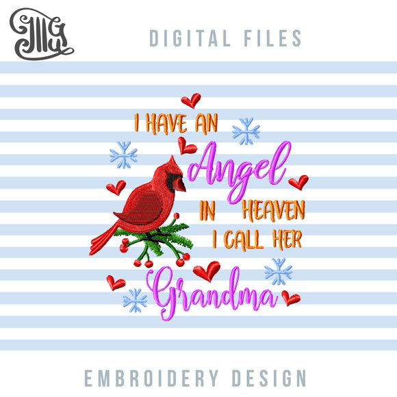 Grandma Memory Embroidery Patterns, Christmas Memorial Ornaments Machine Embroidery Designs, Sympathy Embroidery Files, Christmas Embroidery, Loss Sayings, Grief Quotes, Shirt Embroidery, Memory Pillow Embroidery-by Illustrator Guru
