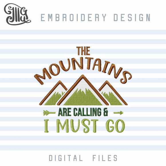 Camping Embroidery Designs, Hiking Embroidery Pattern, Mountains Embroidery Files, Camper Embroidery Stitches, Mountain Peak Embroidery-by Illustrator Guru