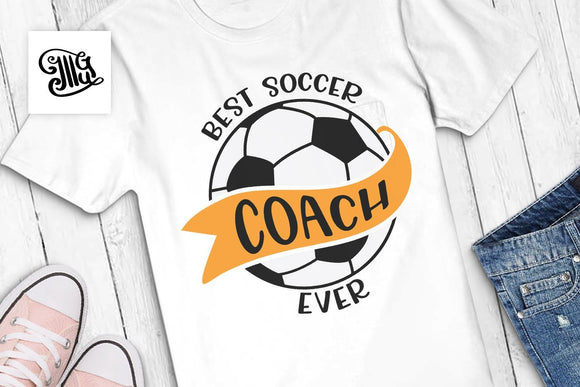 Best Soccer coach ever SVG, coach tshirt svg, game day svg, soccer coach svg, soccer ball svg, soccer banner svg, coach gift, iron on-by Illustrator Guru