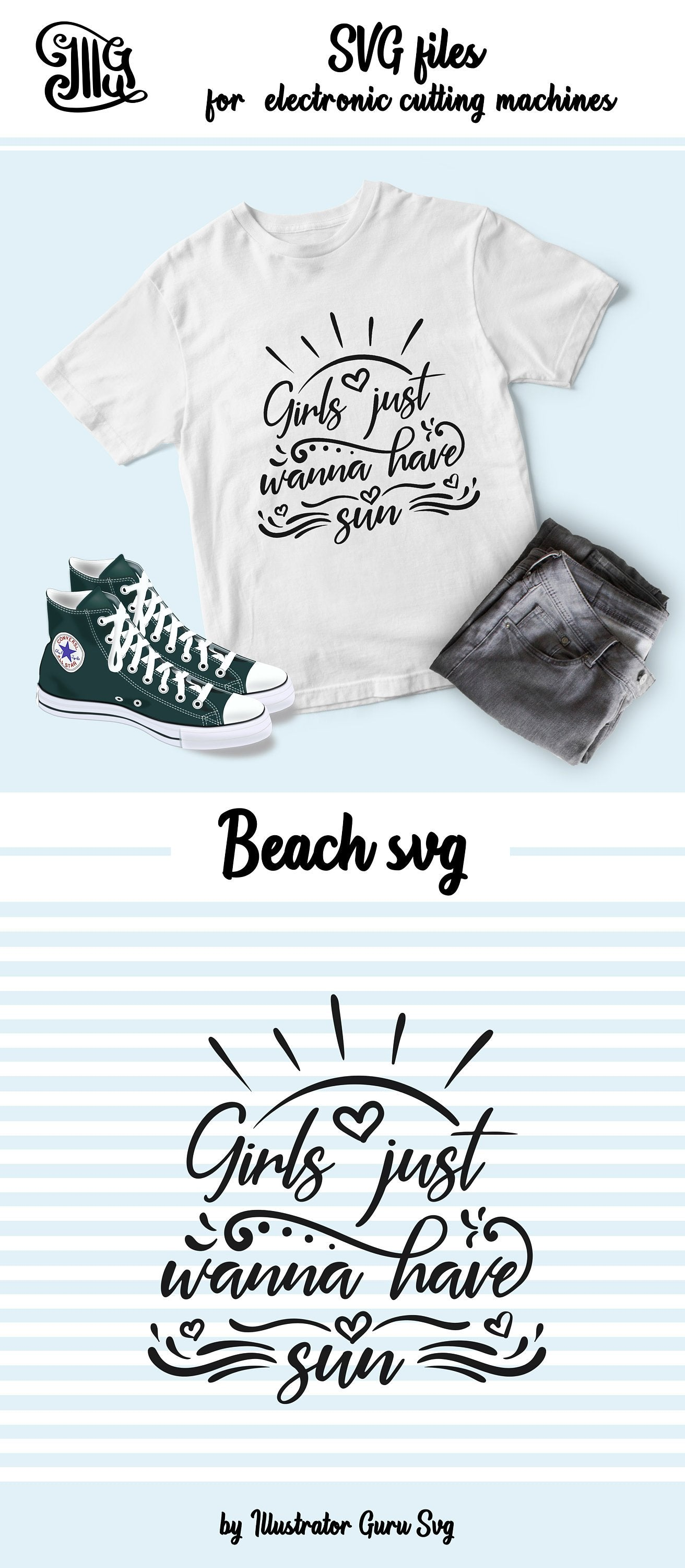 Girls just wanna have sun SVG, beach svg, summer svg, beach sayings svg, beach quotes svg, summer sayings, beach clipart,-by Illustrator Guru