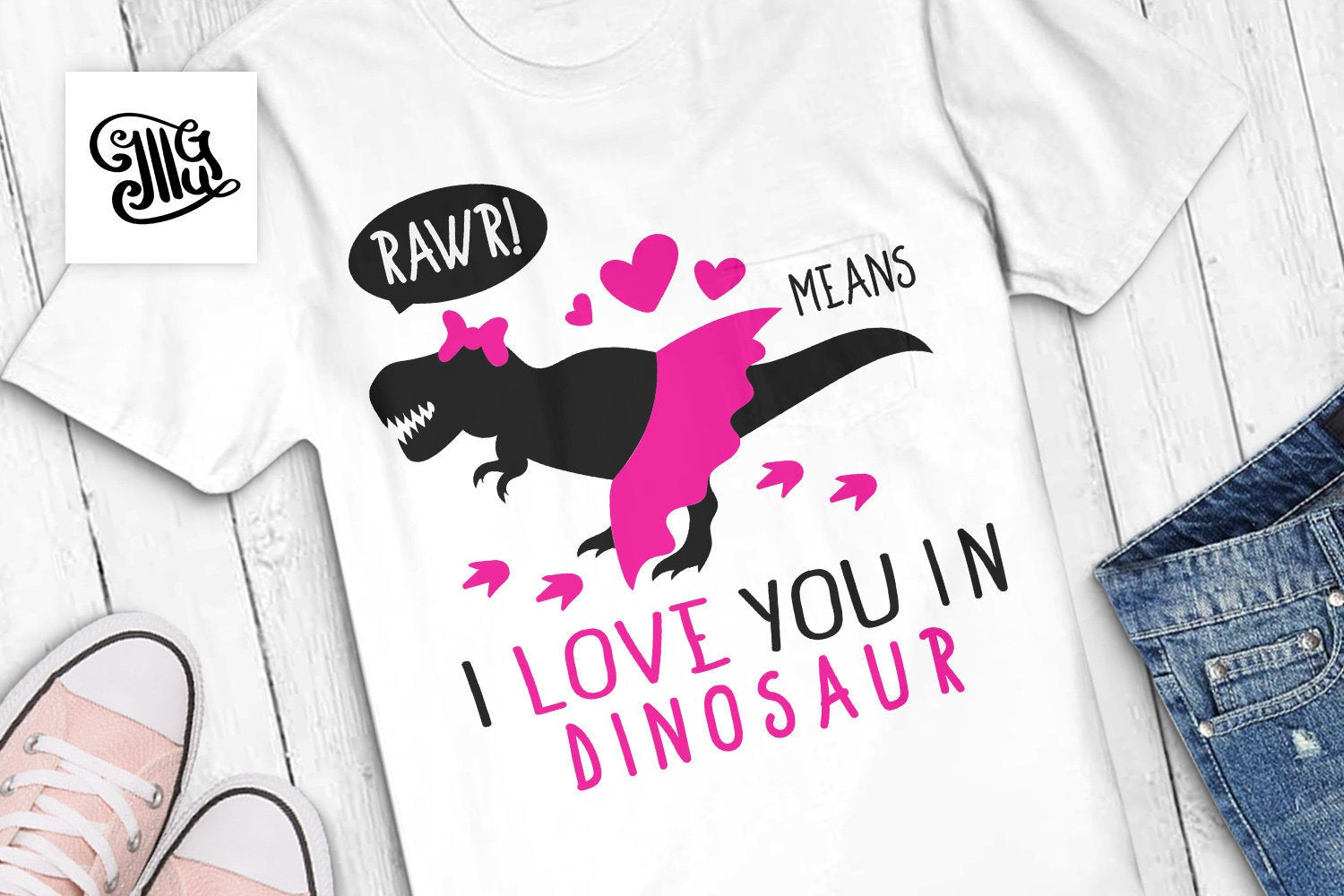 Rawr means I love you in dinosaur svg, girl dinosaur svg, dinosaur svg, cute dinosaur svg, girl trex svg, dinosaur with bow svg,-by Illustrator Guru