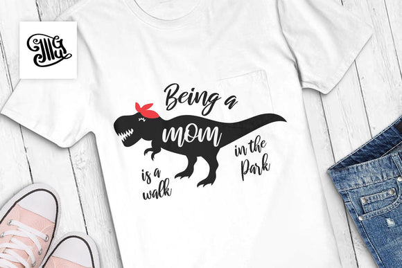 Being a mom is a walk in the Park svg, mom dinosaur svg, dinosaur mommy svg, red bandana svg, t-rex svg, family dinosaur-by Illustrator Guru