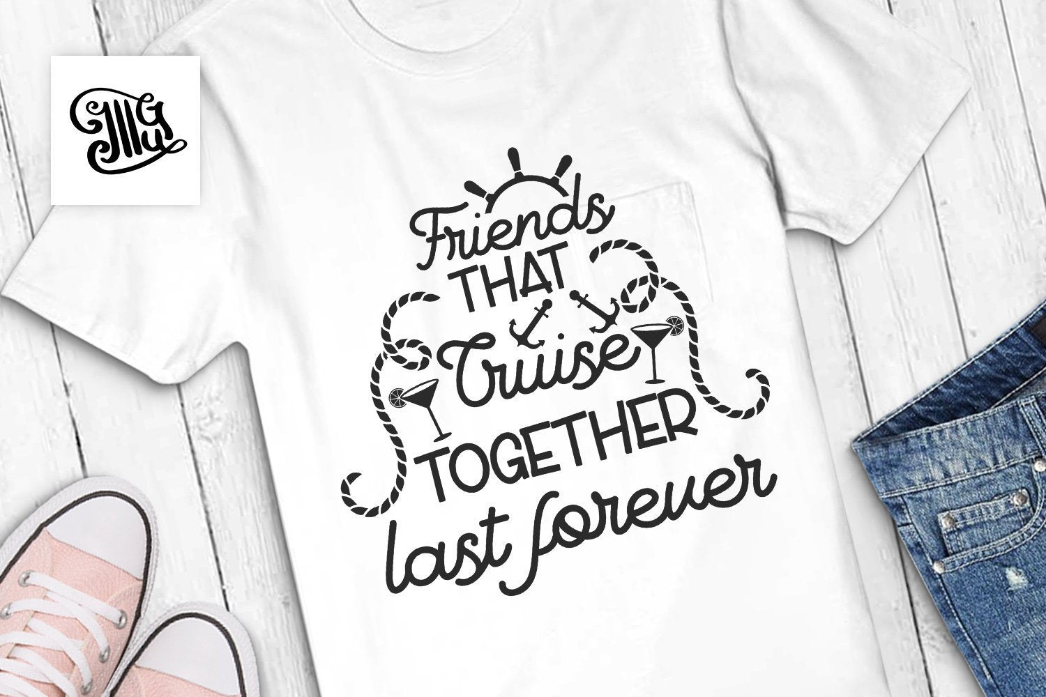 Friends that cruise together last forever svg, cruise svg, anchor svg, ship wheel svg, vacation svg, cruise shirt svg, nautical svg,-by Illustrator Guru