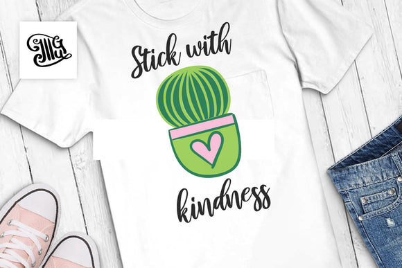 Stick with kindness SVG, Southern girl svg, funny southern svg, cactus sayings svg, succulent svg file, cactus clipart, cactus svg-by Illustrator Guru