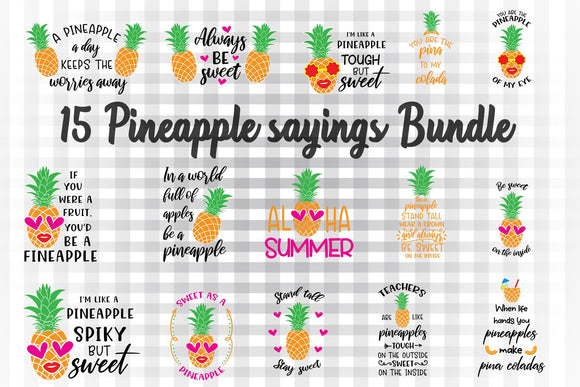 Pineapple SVG Bundle, Pineaplle Face Clipart, Pineapple With Glasses Sublimation Images, Summer Printables, Pineapple Sayings Cut Files, Vacation SVG, Tropical SVG, Be a Pineapple SVG, Pineapple Quotes-by Illustrator Guru