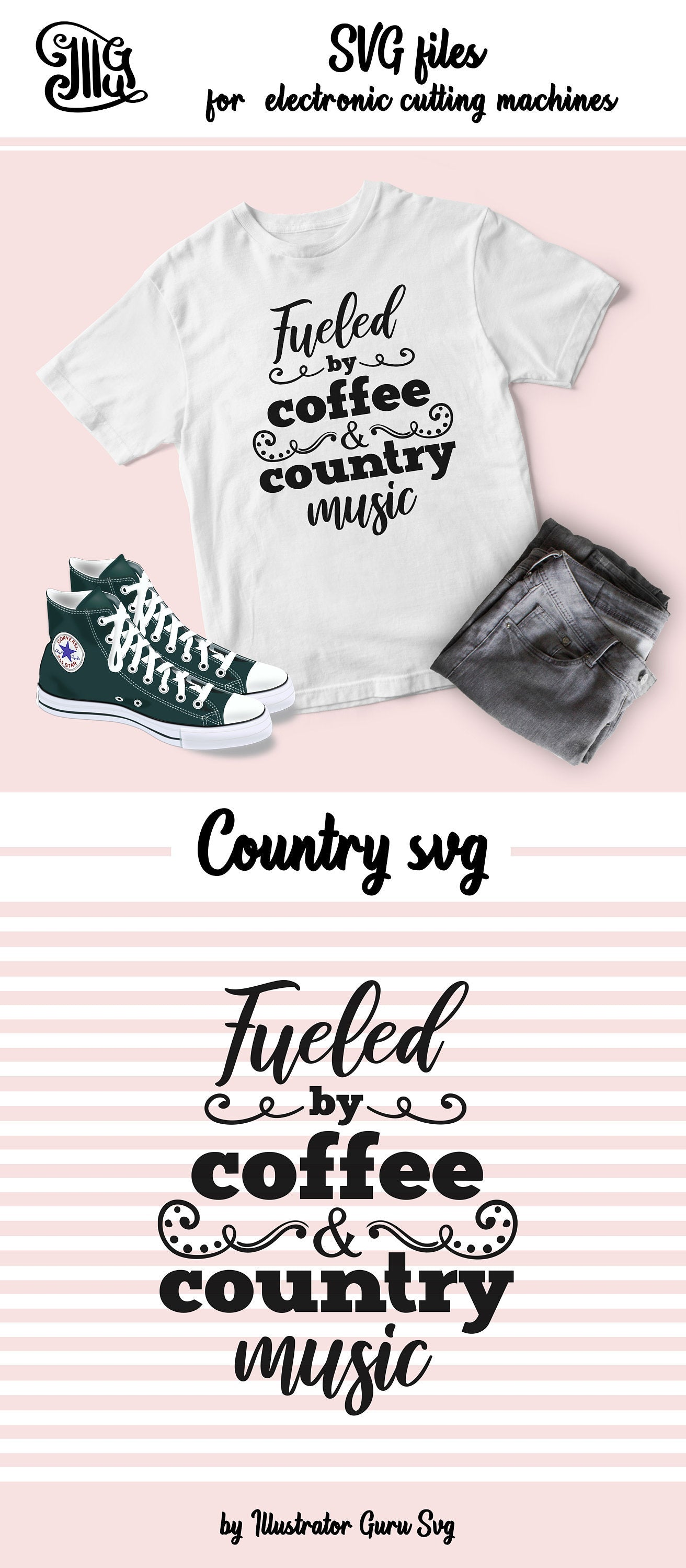Fueled by coffee and country music SVG, coffee svg, Southern SVG Files, Country music svg, wine SVG, Southern Saying Svg, country girl svg,-by Illustrator Guru