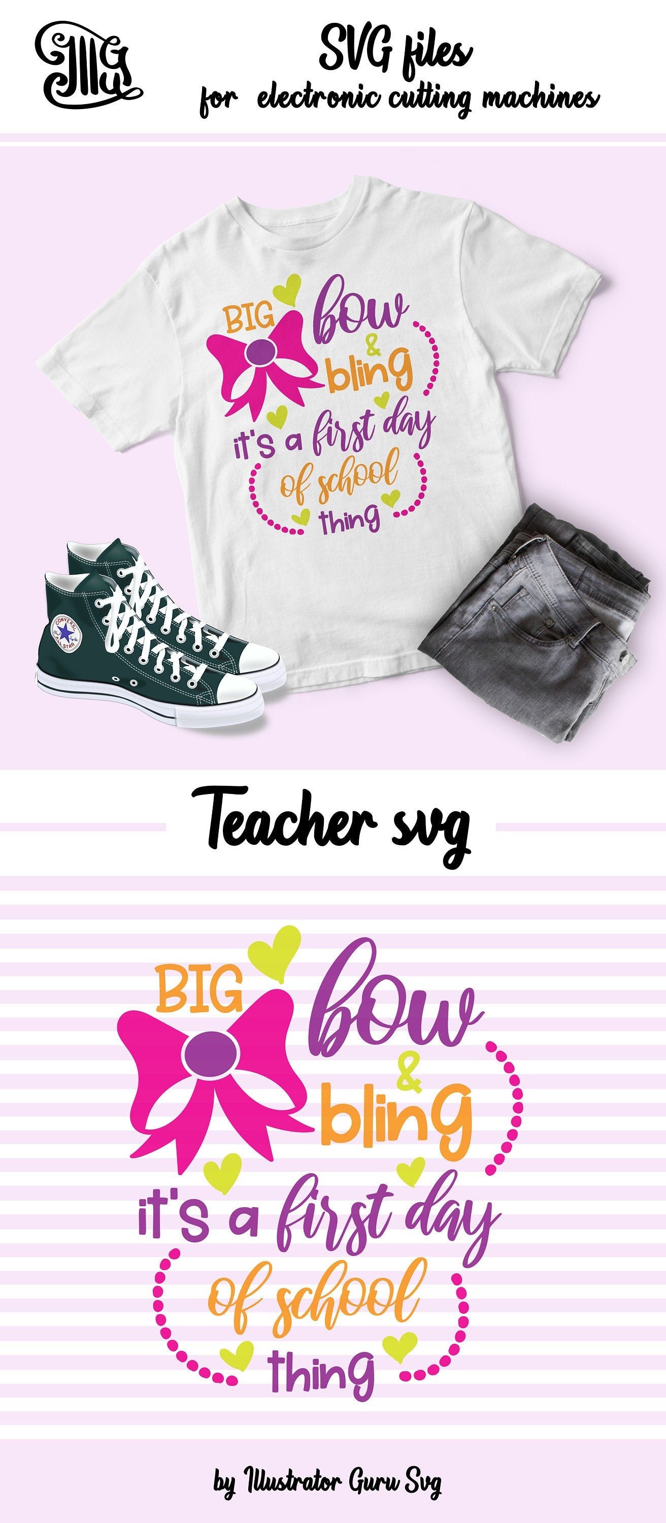 Big bow and bling it's a first day of school thing SVG, school svg, school girl shirt svg, school shirt svg, first day of school svg,-by Illustrator Guru