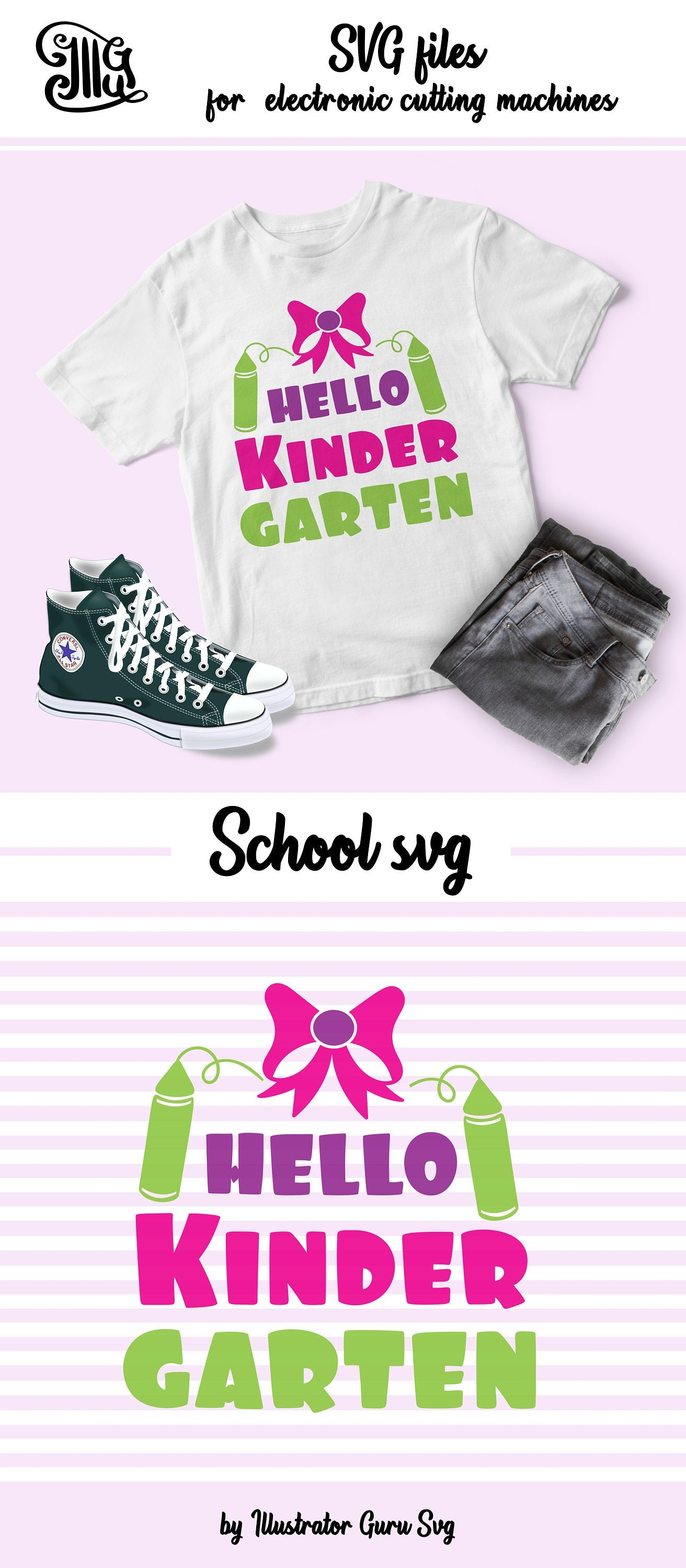 Hello Kindergarten girl SVG, kindergarten svg, teacher svg, kindergarten girl svg, kindergarten bow svg, classroom svg, kids svg, school svg-by Illustrator Guru