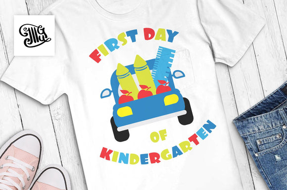 First day of Kindergarten SVG, kindergarten svg, kindergarten boy svg, kindergarten girl svg, first day of school svg, truck svg-by Illustrator Guru