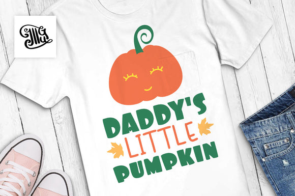 Daddy's little pumpkin svg, pumpkin face svg, fall svg, autumn svg, pumpkin baby svg, pumpkin clipart, happy fall svg, toddler svg,-by Illustrator Guru