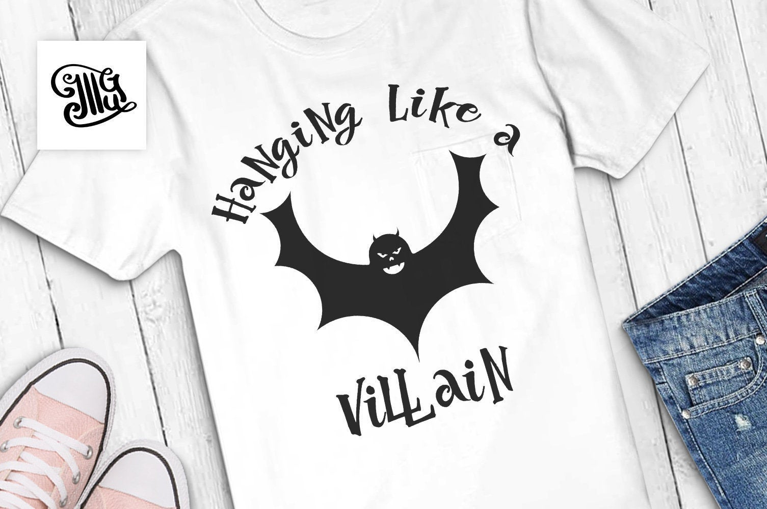 Hanging like a villain svg, halloween svg, halloween teen svg, halloween girl svg, funny halloween svg, halloween bat svg, halloween man svg-by Illustrator Guru