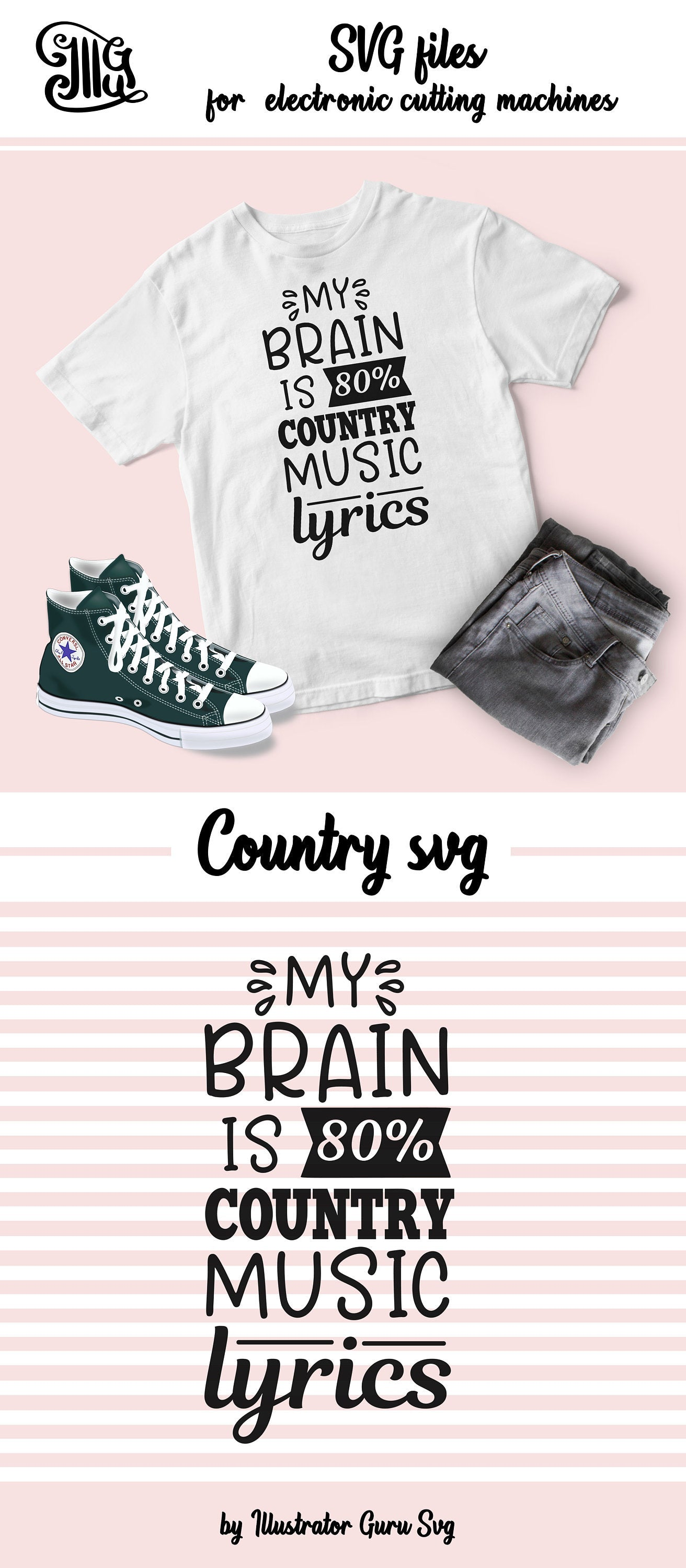 My brain is 80% country music lyrics SVG, Southern SVG Files, Country music svg, wine SVG, Southern Saying Svg, country girl svg,-by Illustrator Guru