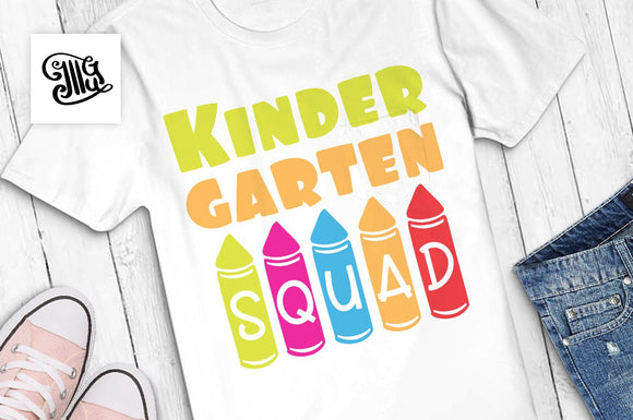 Kindergarten squad SVG, kindergarten team svg, teacher svg, school svg, teacher shirt svg, classroom svg, kindergarten svg, kids svg,-by Illustrator Guru