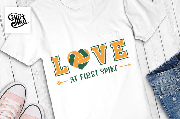 Volleyball svg, Love at first spike svg, volleyball girl svg, volleyball girl shirt svg, volleyball clipart, volleyball girl sayings-by Illustrator Guru