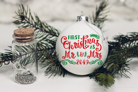 First Christmas as Mr and Mrs 2019 ornament svg, our 1st Christmas ornaments svg, our first Christmas married decoration DIGITAL DOWNLOAD-by Illustrator Guru