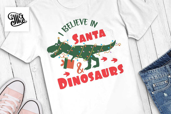 I believe in Santa and dinosaurs svg, Christmas dinosaur svg, Christmas svg, christmas lights dinosaur, christmas trex svg, christmas kids-by Illustrator Guru