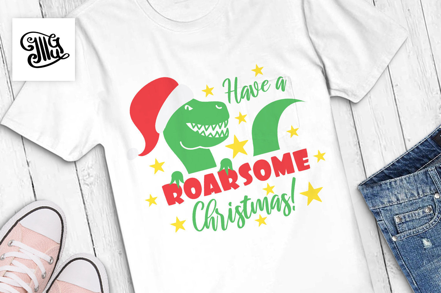 Have a Roarsome Christmas! svg, Christmas dinosaur svg, Christmas svg, christmas lights dinosaur, christmas trex svg,-by Illustrator Guru