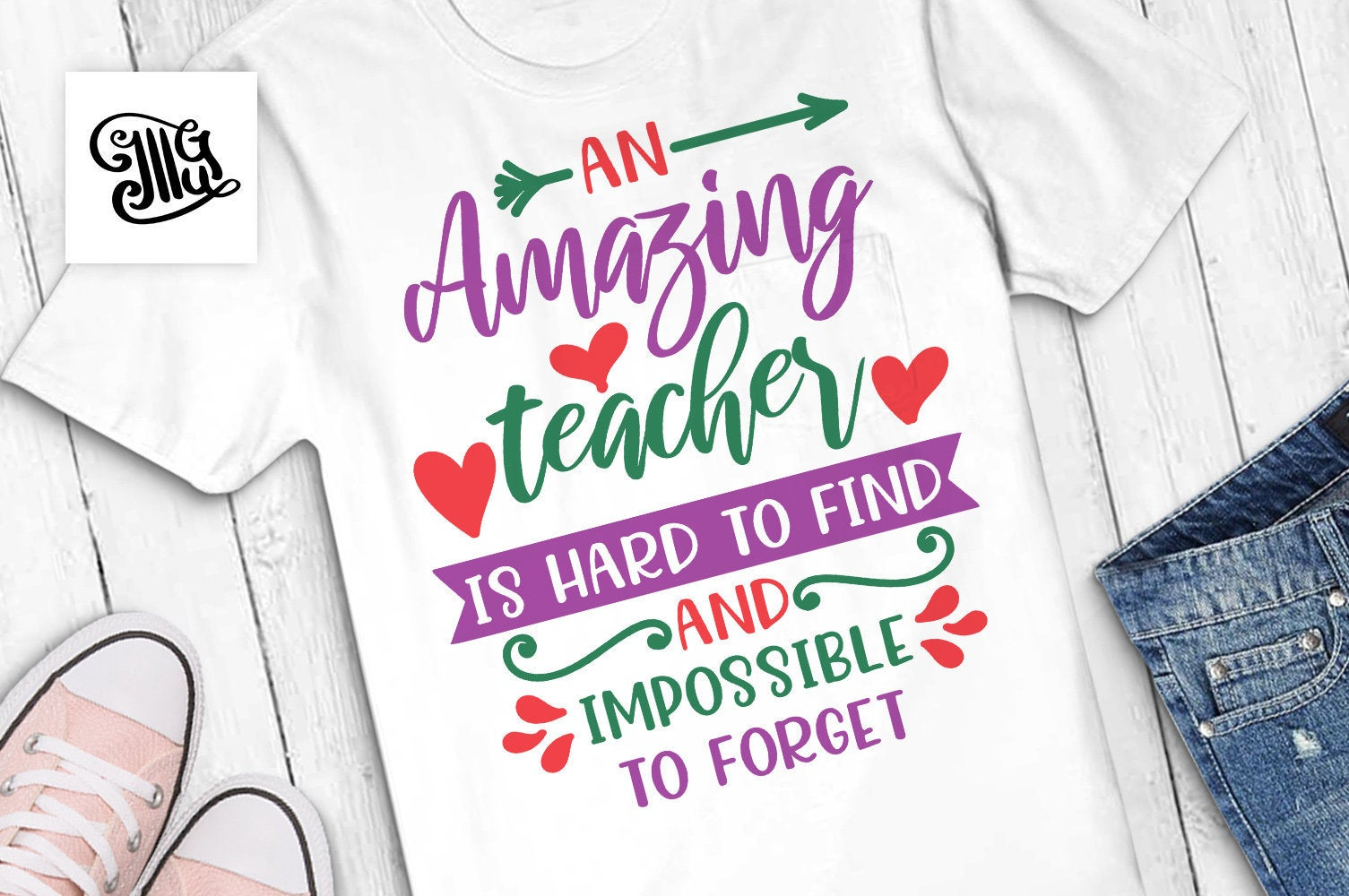 An amazing teacher is hard to find and impossible to forget svg, teacher appreciation svg, teacher svg, teacher shirt svg, teacher clipart-by Illustrator Guru