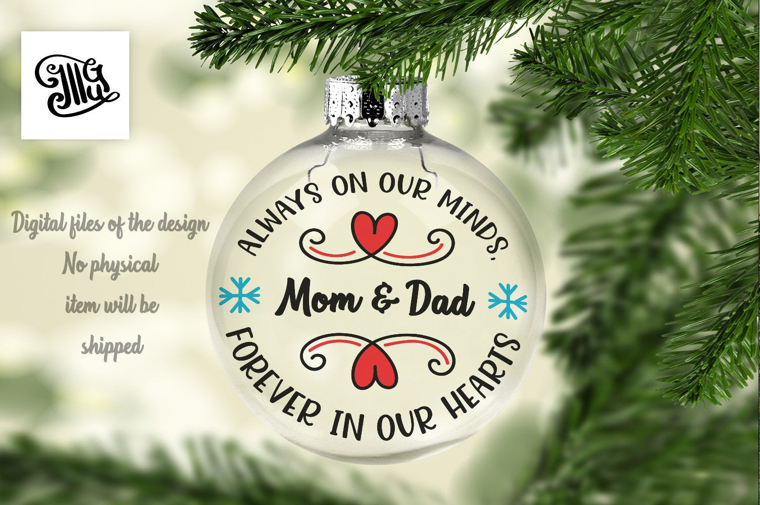Forever in Our Hearts Svg for Personalised Christmas Memorial Gifts-by Illustrator Guru