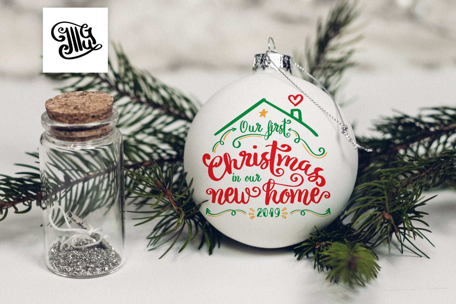 First Christmas in our new home ornament svg, DIGITAL FILES, first house ornament svg, Christmas ornaments svg, our first christmas svg-by Illustrator Guru
