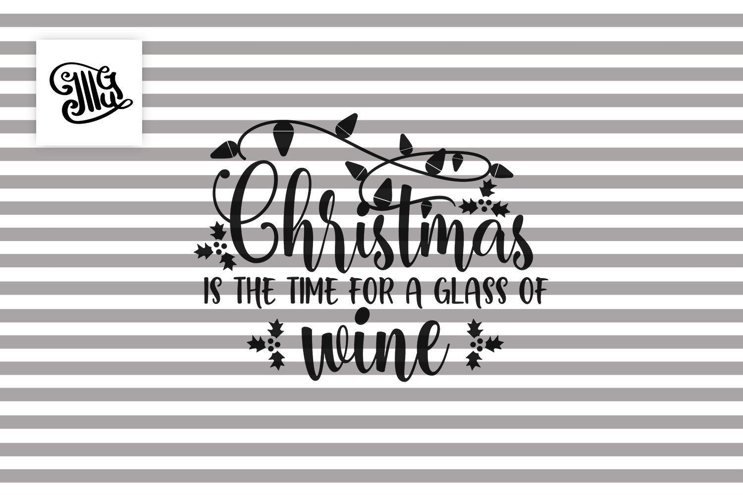Christmas Wine Glass Svg Free for Christmas Wine Glasses-by Illustrator Guru