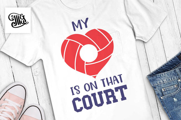 My heart is on that court svg, volleyball mom svg, volleyball svg, volleyball heart svg, volleyball monogram svg, volleyball cut file-by Illustrator Guru
