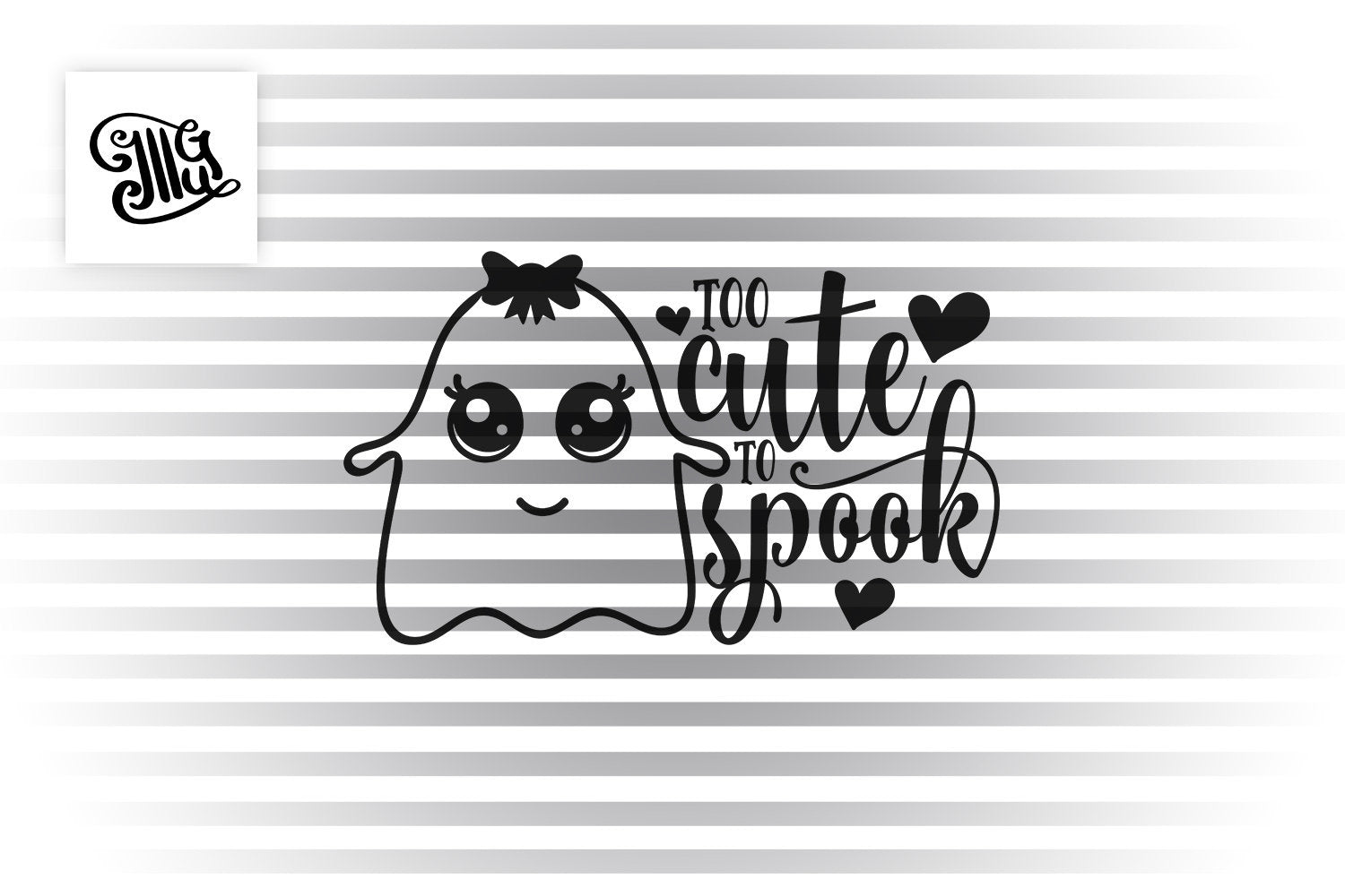 Too Cute To Spook Svg Halloween Girl Svg Ghoul With Bow Svg Cute Gh Illustrator Guru