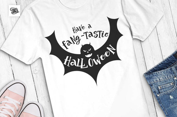 Have a fang-tastic Halloween svg, fang-tastic svg, Halloween svg, halloween bat svg, halloween wishes svg, halloween clipart, cut files-by Illustrator Guru