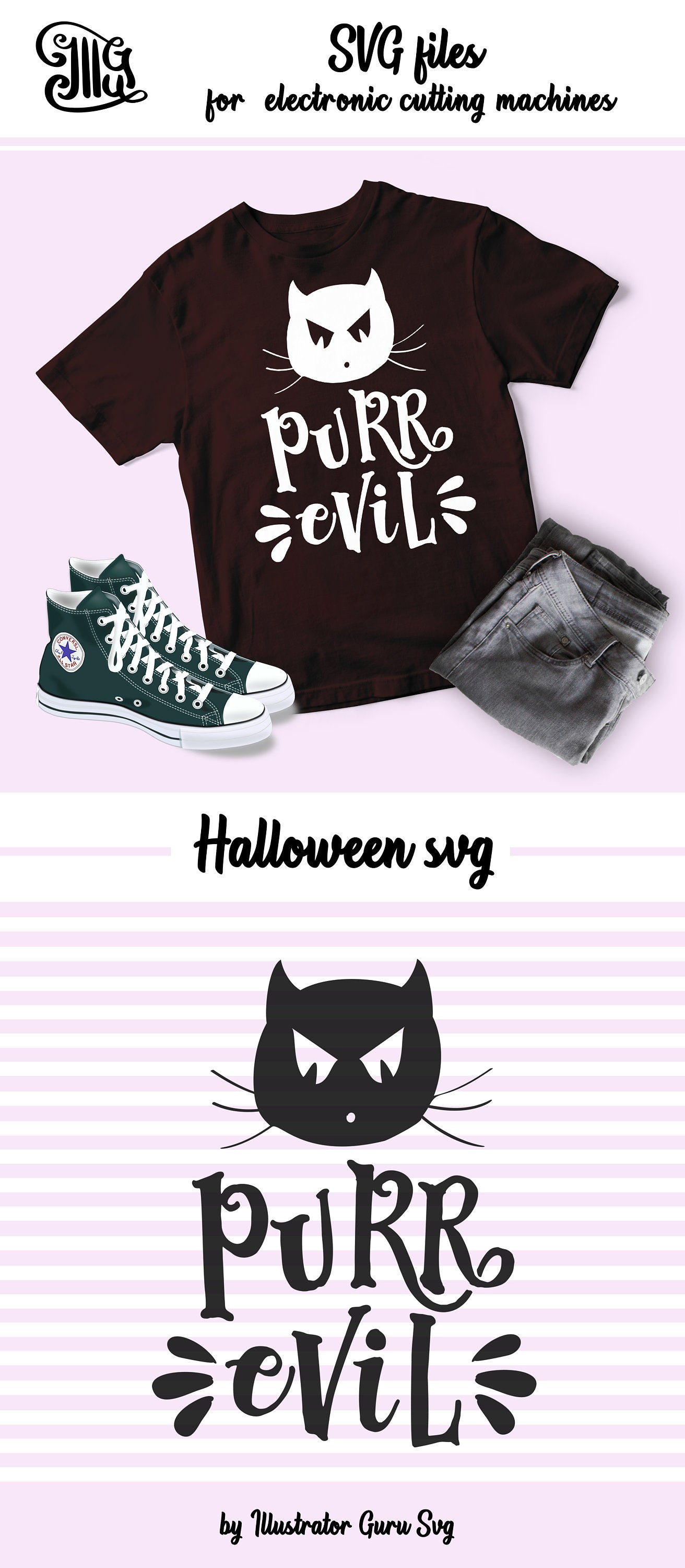 Funny Halloween svg, Purrr Evil svg, halloween girl svg, halloween cat svg, black cat svg, halloween girl sayings, halloween girl cut-by Illustrator Guru