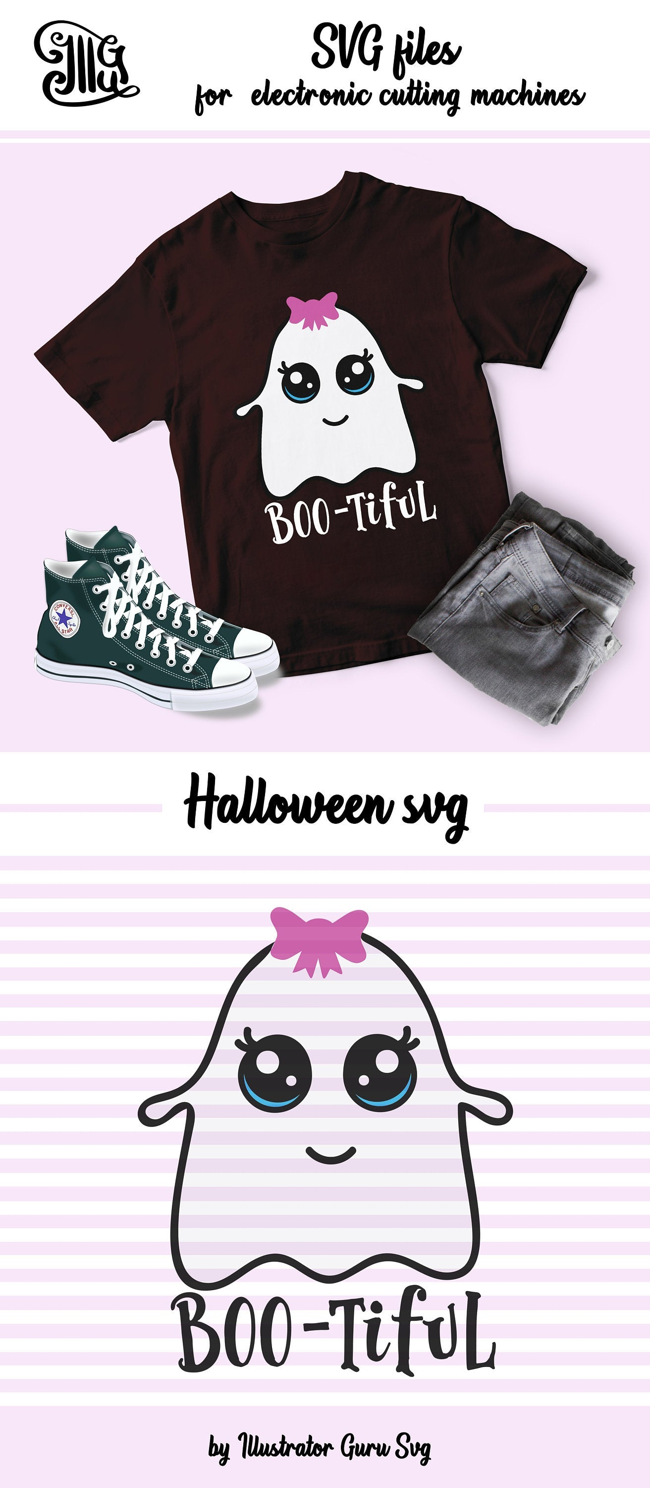 Funny Halloween svg, Boo-tiful svg, halloween girl svg, halloween ghoul svg, halloween bow svg, halloween girl sayings, halloween girl cut-by Illustrator Guru