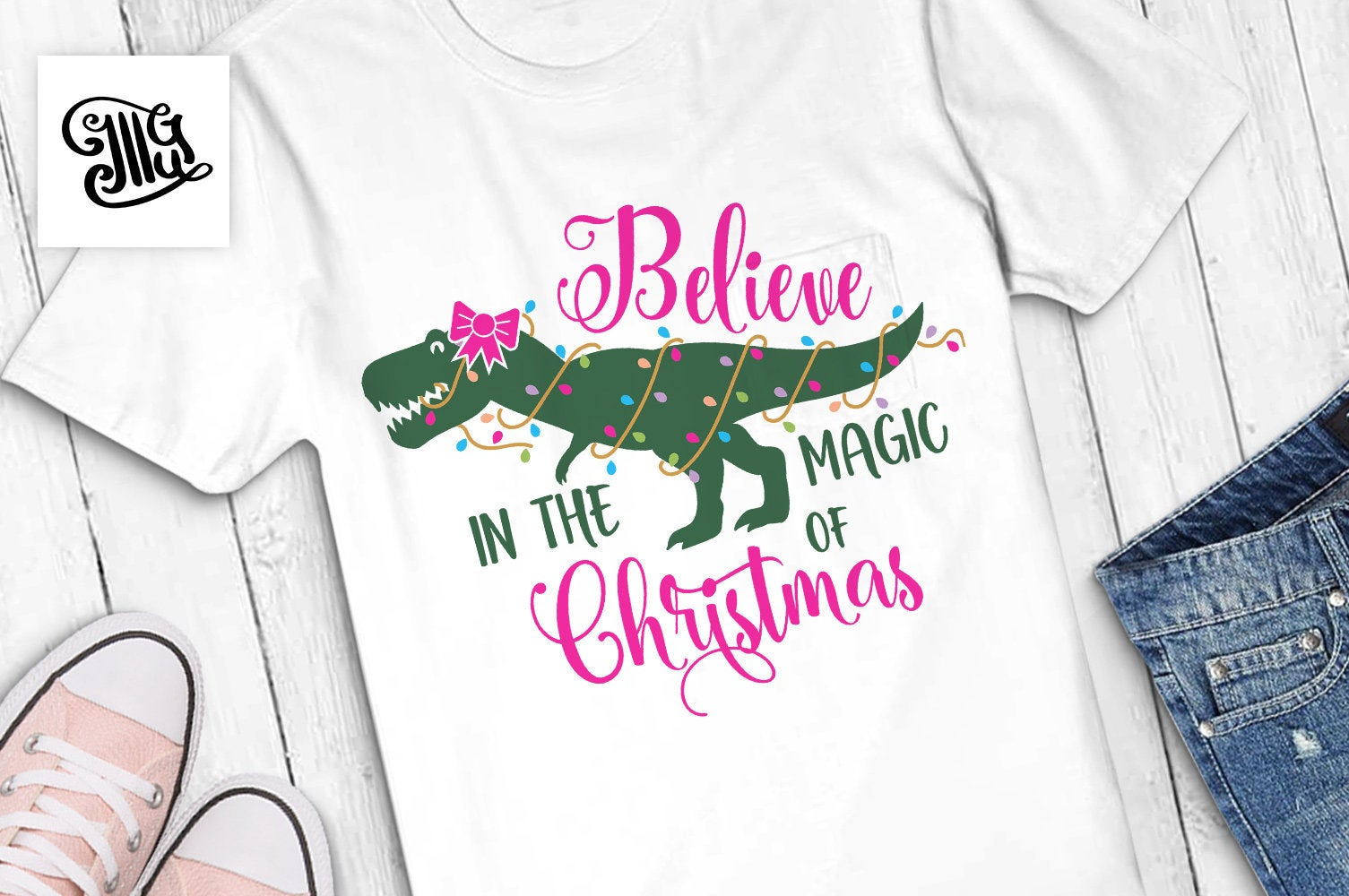 Believe in the magic of Christmas SVG, Christmas dinosaur svg, christmas lights svg, trex svg, christmas svg, christmas girl svg,-by Illustrator Guru