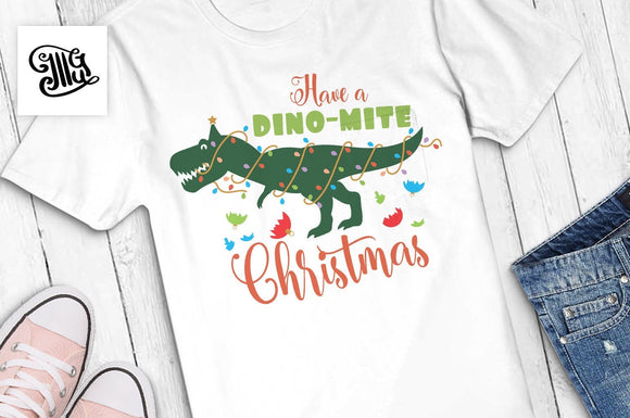 Have a dinomite Christmas svg, Christmas dinosaur svg, Christmas svg, christmas lights dinosaur, christmas trex svg, christmas kids svg-by Illustrator Guru