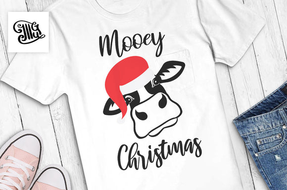 Mooey Christmas SVG, Christmas heifer svg, Christmas cow svg, cow with santa hat svg, girl Christmas svg, Christmas cow farm svg-by Illustrator Guru
