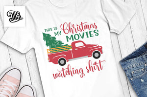 Christmas Svg | Christmas Red Truck with Tree clipart | Christmas Movies Shirt sublimation png |-by Illustrator Guru