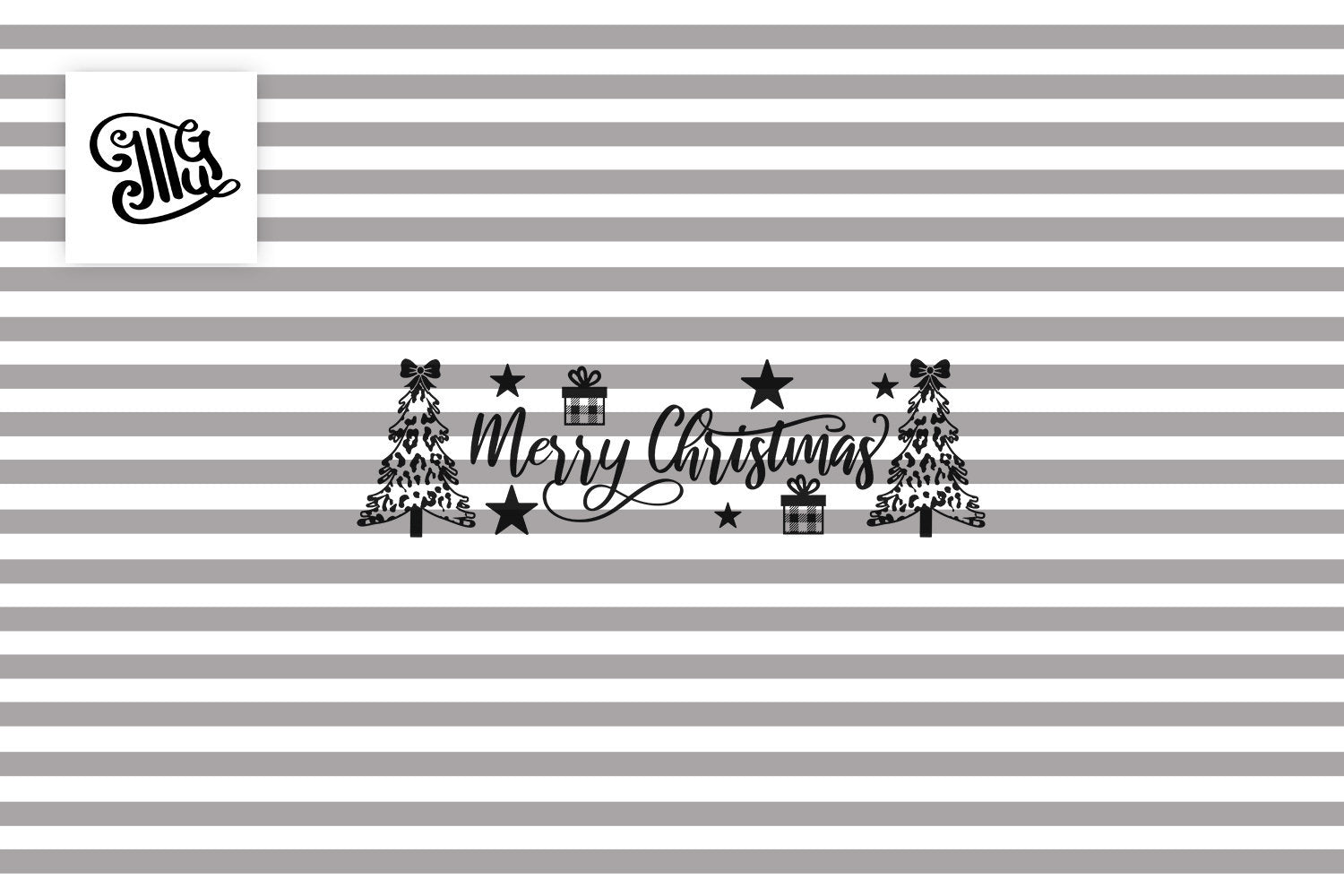 Merry Christmas Sign Svg with Leopard Print Christmas Trees-by Illustrator Guru