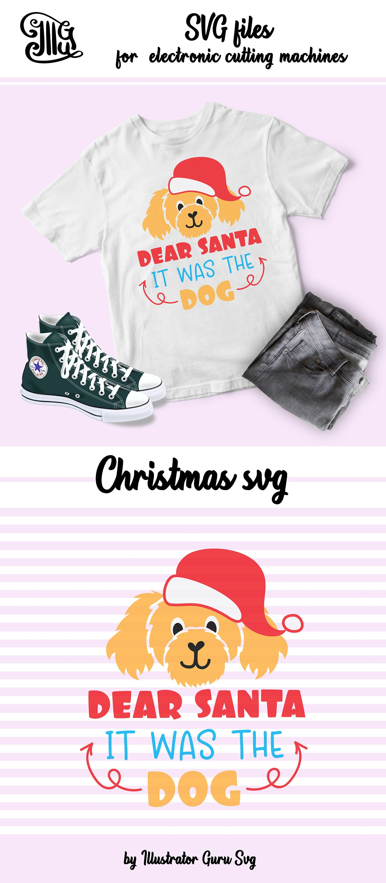 Dear Santa it was the dog svg, Christmas kids svg, funny Christmas svg, Christmas boy svg, Christmas girl svg, Christmas svg, santa hat svg-by Illustrator Guru